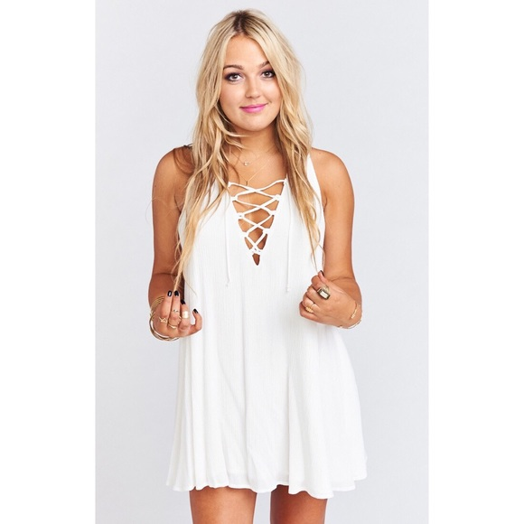 Show Me Your MuMu Tops - SMYM RANCHO MIRAGE LACE UP TUNIC DRESS